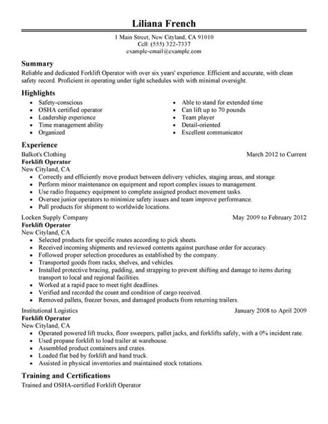 forklift operator resume sle my perfect resume