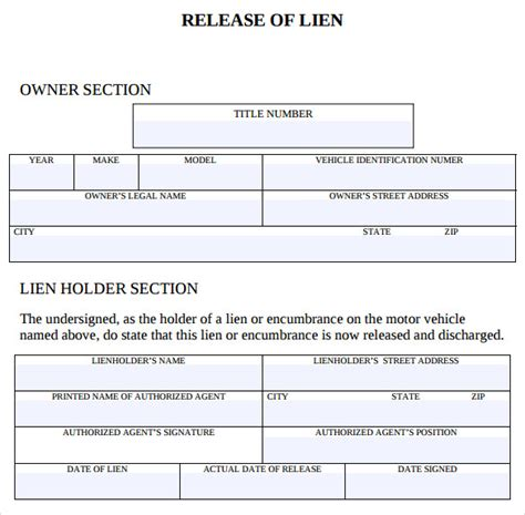 release of lien form sle lien release form 8 free documents in pdf