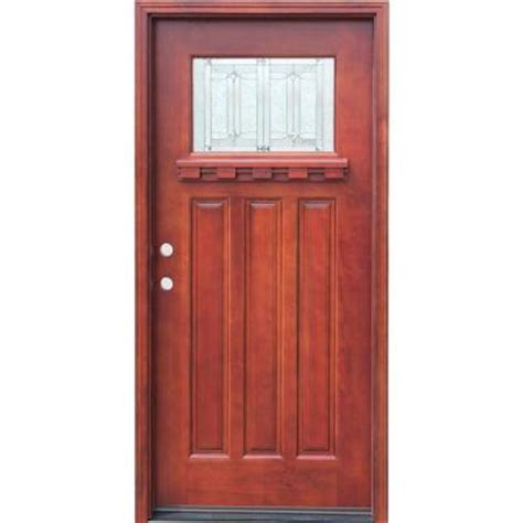 Home Depot Wood Exterior Doors Pacific Entries 36 In X 80 In Craftsman 1 Lite Stained Mahogany Wood Prehung Front Door With