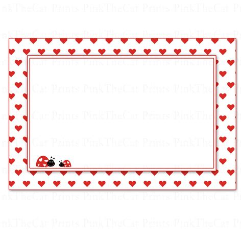 Blank Valentines Card Template by Ladybug Blank Note Card Or Labels For Valentines