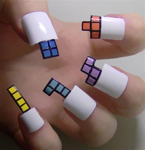 geometric video game nails video game nail