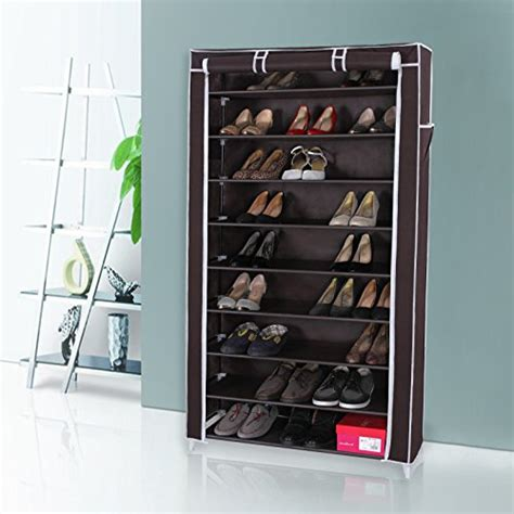 dustproof 10 tier shoes cabinet storage organiser shoe rack stand holds 27 pairs ebay songmics 10 tiers shoe rack with dustproof cover closet shoe storage cabinet organizer