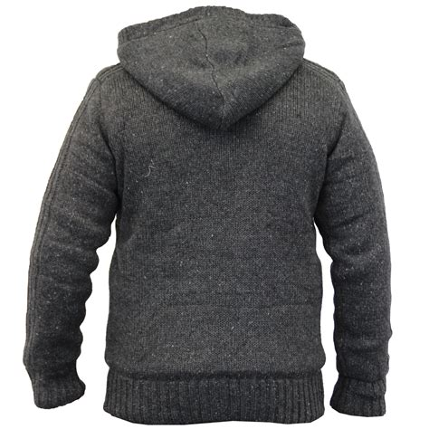 Knit Hooded Toggle Coat mens knitted sherpa fleece jacket hooded toggle winter