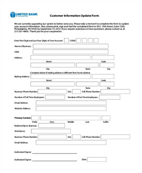 Customer Information Update Letter Exles Sle Customer Information Forms 9 Free Documents In Word Pdf