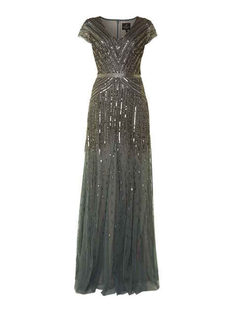 beaded dresses papell beaded mesh maxi dress in gray slate lyst