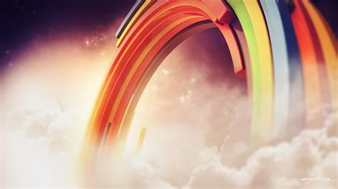 wallpaper colorful rainbow clouds hd creative graphics
