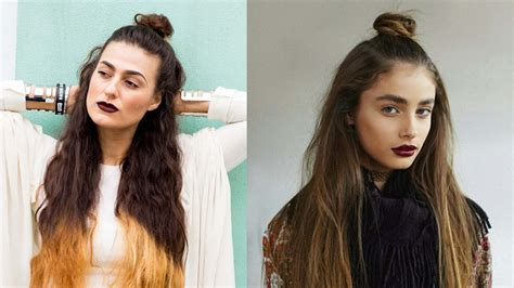 hairstyles for putting you hair down how to style your hair in a messy half up bun youtube