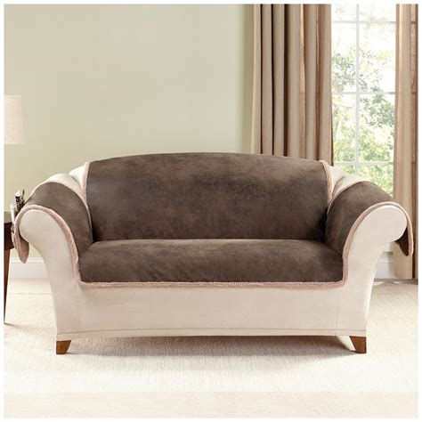 slipcover for leather couch sure fit 174 leather furn friend loveseat slipcover 581242