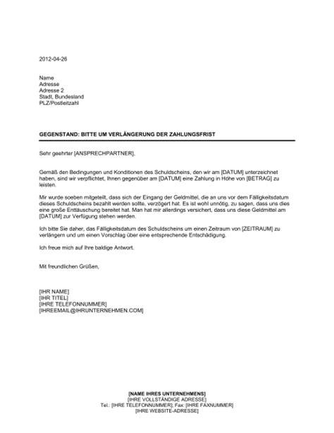 Urlaub Brief Beispiel Bitte Um Verl 228 Ngerung Der Zahlungsfrist Vorlagen Und Muster Biztree