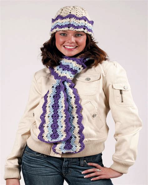 ripple hat and scarf crochet pattern 2015