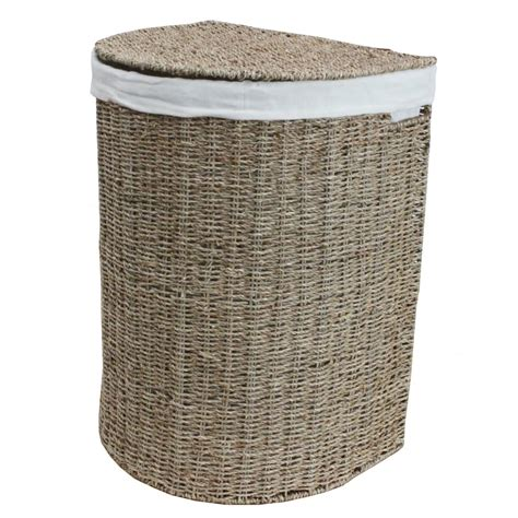 Seagrass half moon laundry basket lined