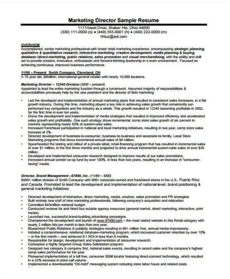 Marketing Director Resume by Marketing Resume Exles 47 Free Word Pdf Documents