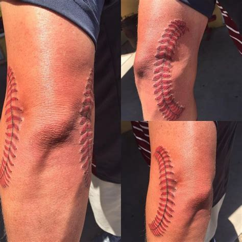 tattoo over knee surgery scar 50 sporty baseball designs for the of the