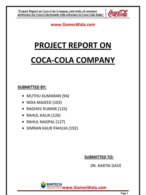 Scribd Project Report Mba by Report On Coca Cola Coca Cola