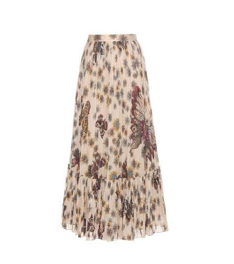 shop valentino printed pleated cotton maxi skirt at