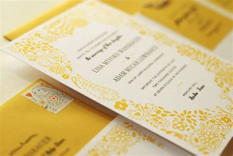 Wedding Invitations Yellow Paper by Adam S Yellow Floral Wedding Invitations