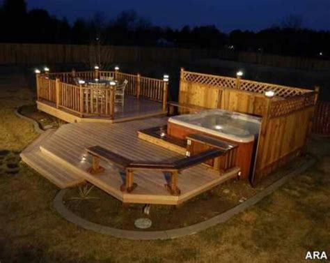 backyard deck designs with hot tub new deck ideas on pinterest deck skirting decks and