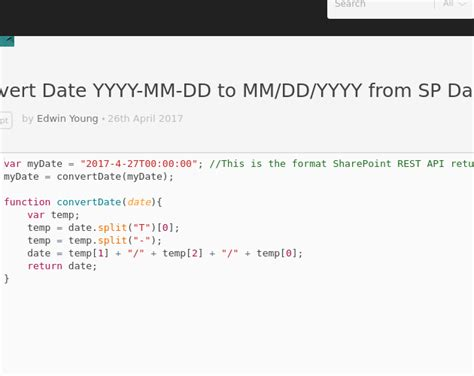 format date javascript mm dd yyyy convert date yyyy mm dd to mm dd yyyy from sp date codepad