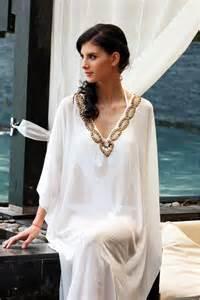 white long kaftan real pearls beachwear kaftans