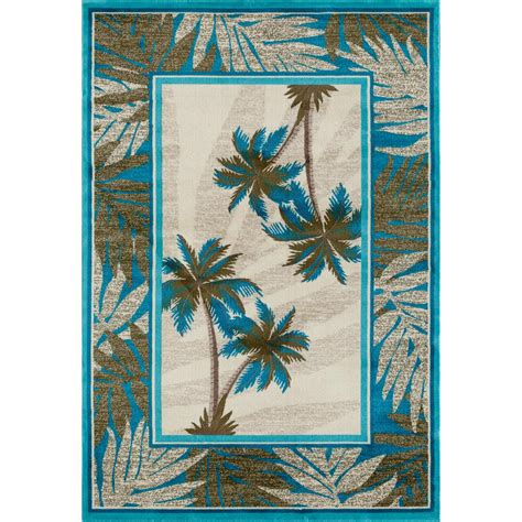 carpet palm coast frond aqua 3 ft 11 in x 5 ft 7 in