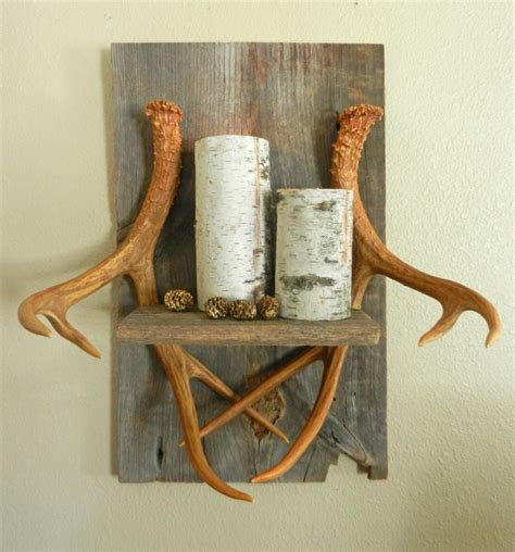 deer antler home decor deer antler wall shelf home decor cabin decor man cave