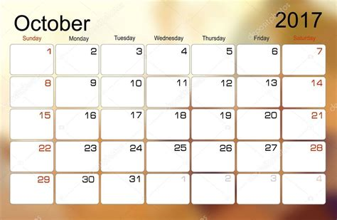 Calendar 2017 October Calend 225 De Outubro De 2017 Vetores De Stock 169 Mitay20