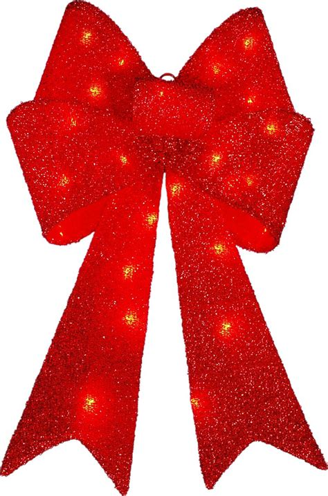 outdoor red battery lighted bows decra lite ltd lighted bow led lights with tinsel seasonal outdoor