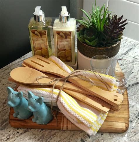Handmade Housewarming Gift Ideas - housewarming gift wooden chopping board towels