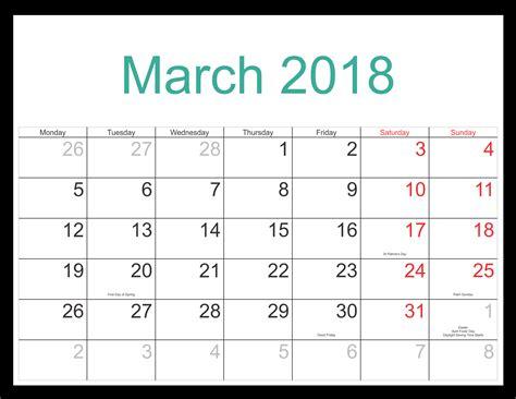 march 2018 calendar fillable calendar template letter free 5 march 2018 calendar printable template source