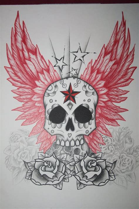 skull and star tattoo designs skool with wings and roses skull and wings