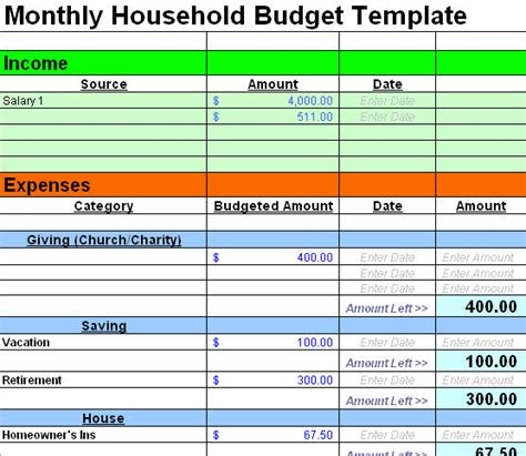 Free Home Budget Spreadsheet by Family Budget Templates Calendar Template 2016