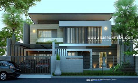 carport pada gambar rumah minimalis modern 2 lantai rumah mewah 2 lantai kolam renang privat modern minimalis