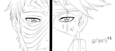 naruto coloring pages kakashi manga naruto 655 kakashi and obito lineart by sama15 on