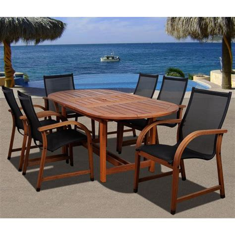 bahama outdoor dining set amazonia bahamas oval 7 eucalyptus patio dining set