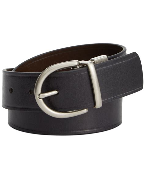 fossil reversible leather belt in black for lyst