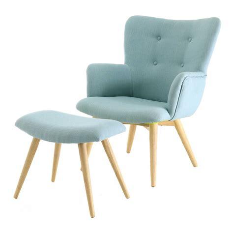 fauteuil tissu vintage fauteuil repose pieds en polyester style scandinave bleu mooviin