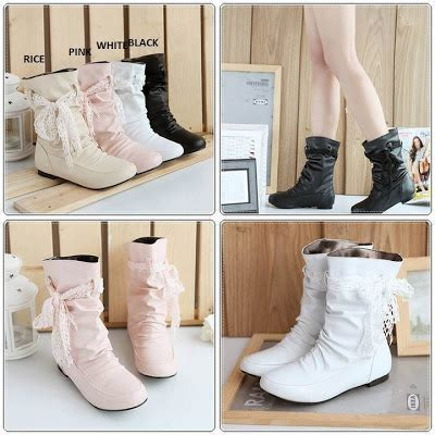Boots Wedges Korea Style White korean style shop korean boots v closed