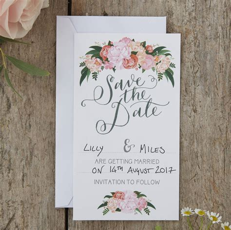 8 Cards To Send For A Wedding by Boho Floral Save The Date Wedding Cards By