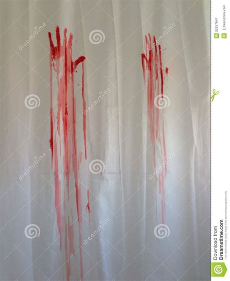 murder scene shower curtain bloody handprints on the shower curtain stock photo