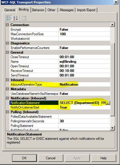 sql query notification tutorial wcf sql biztalk notification and content based routing