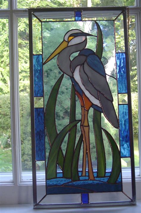 stained glass pattern blue heron blue heron in stained glass stained glass pinterest