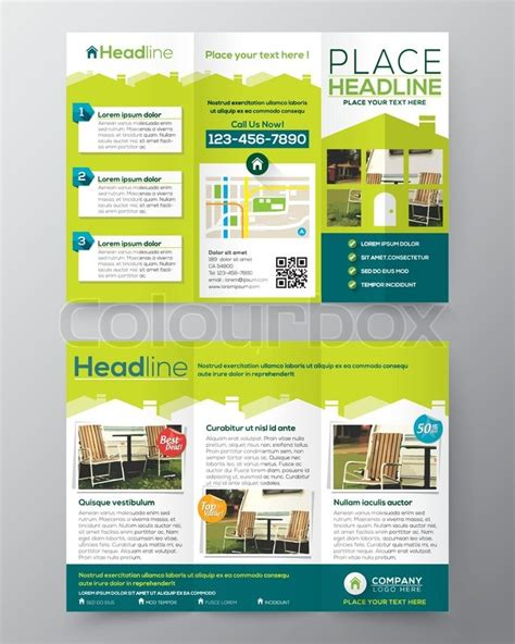 a4 tri fold brochure template real estate brochure flyer design vector template in a4