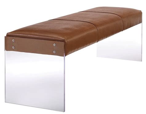 tan leather bench envy bench tan leather modern digs furniture