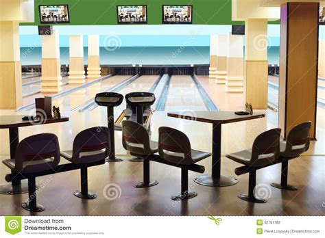 small light bowling with hanging displays stock