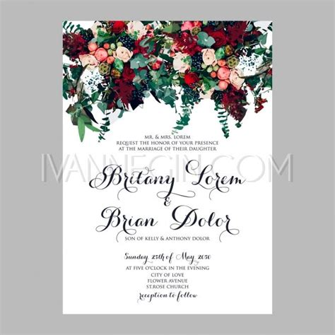 wedding invitation card suite with flower templates peony wedding invitation printable template with floral