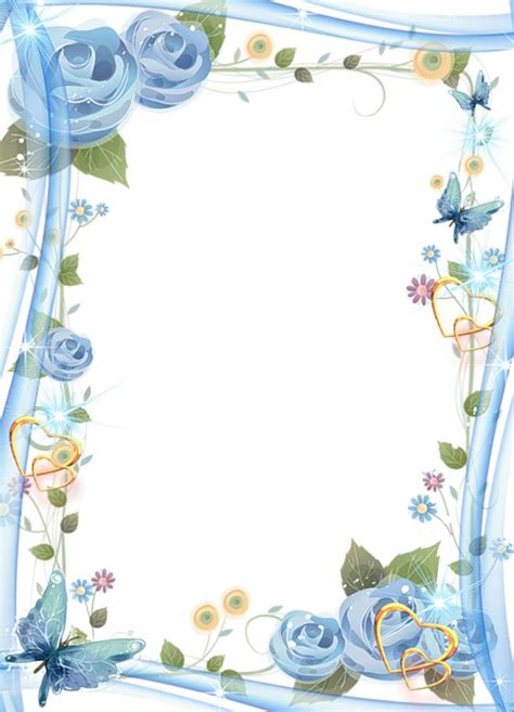 floral photo frame  hearts  butterflies