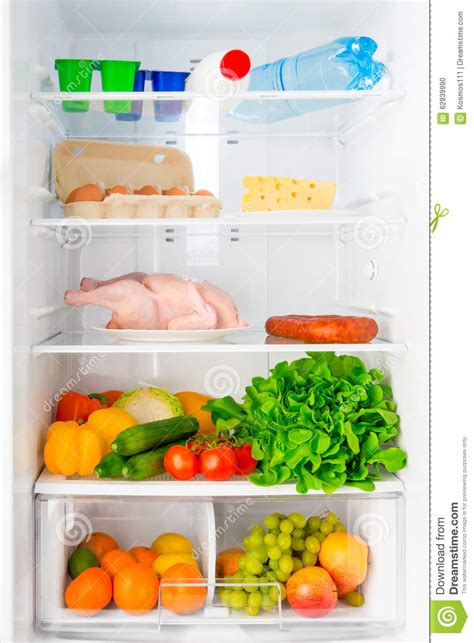 Shelf Of Refrigerated Foods by Shelf Of The Refrigerator With Food Stock Photo Image 62839990