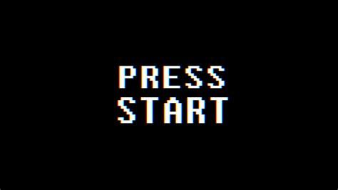 Press Start retro videogame press start text computer tv glitch