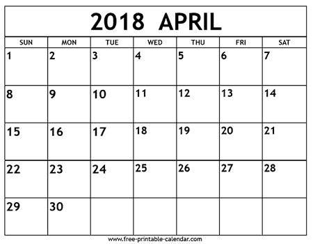 april 2018 calendar free printable calendar