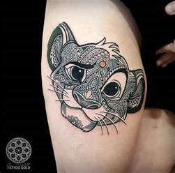mosaic simba girls thigh tattoo best tattoo ideas amp designs